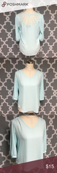 A. Byer Sky Blue Caged Back Blouse : A A. Byer Sky Blue caged blouse women's size small good used condition  Approximate measurements  ▪️Pit to Pit 19 inches  ▪️Shoulder to Hem 24 inches  Thank you for checking out my closet! Offers are always welcome or bundle for bigger savings. If you have any questions feel free to ask! Tops Blouses