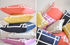 Could make a similar pillow using simple plain fabric with strips of ribbon sewn to it