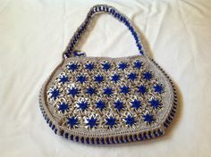 Soda Can Tabs Handbag Handmade in The USA Grey w Royal Blue Flowers | eBay