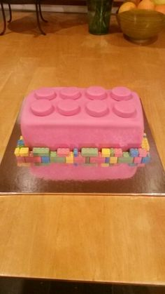 Lego cake.  Chocolate cake with chocolate buttercream filling covered with fondant