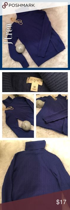 Lovely Royal Blue J Crew Cable Turtleneck Sweater Lovely Royal Blue J Crew Cable Turtleneck Sweater. Great condition. No pilling, stains, or rips. Soft and lightweight. Just a beautiful shade of blue. J. Crew Sweaters Cowl & Turtlenecks