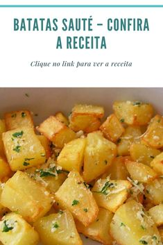 Batatas Sauté confira a receita - pizza A Food, Good Food, Food And Drink, Yummy Food, Lebanese Recipes, Portuguese Recipes, Veggie Recipes, Real Food Recipes, Cooking Recipes