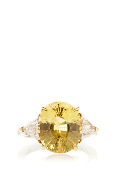 One Of A Kind Oval Shape Gia Certified Natural And Untreated Yellow Sapphire Ring by Paolo Costagli for Preorder on Moda Operandi