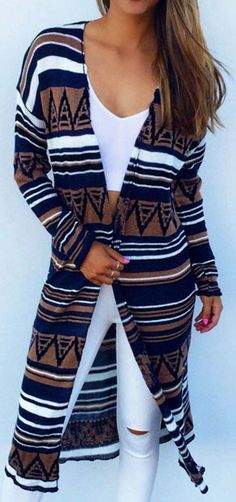 This cardigan is going to be great morning, noon and night! The long cardigan with soft fabric features strip, geometric figure, constrast color and comfy style, easily attracting attention from the public! Go and get more choice at Cupshe.com!