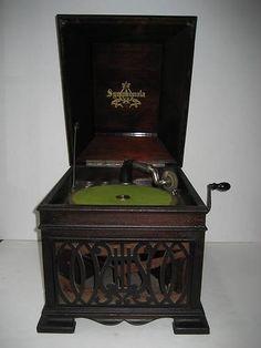 Anitque Mahogany Table Top Symphonola Victrola Phonograph