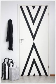 black white geometric pattern paint door triangle decor interiors