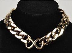 Europe Top Fashion Light Gold Chunky Curb Chain Link ID Bib Choker Necklace