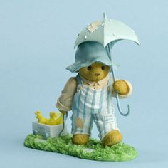 Cherished Teddies Robby Bear Pulling A Cart And Umbrella Figurine