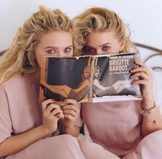 Mary-Kate and Ashley Olsen wearing The Row dresses. Photographed by Bruce Weber
