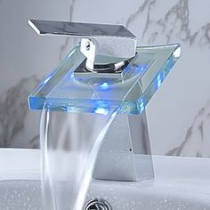 [$79.39] Color Changing LED Waterfall Bathroom Sink Faucet (Chrome Finish) Model C