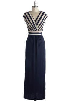 navy & white striped maxi dress via modcloth