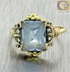 1880s Antique Victorian Estate 10k Solid Yellow Gold 3ct Aquamarine Diamond Ring   Jewelry & Watches, Fine Jewelry, Fine Rings   eBay!