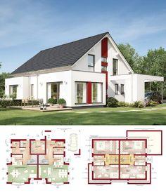 Doppelhaus Modern Mit Satteldach Architektur   Doppelhaushälfte Grundriss  Fertighaus Celebration 192 V3 Bien Zenker Hausbau Ideen