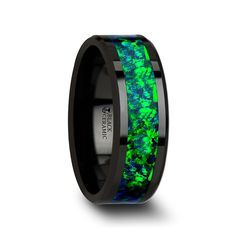 PULSAR Black Ceramic Wedding Band with Beveled Edges and Emerald Green & Sapphire Blue Color Opal Inlay - 6 mm & 8 mm