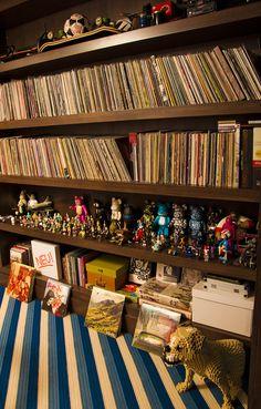 Record storage in Lauren Santo Domingo's apartment, via Vogue.com    Love.