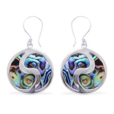 Liquidation Channel - Affordable Royal Bali Collection Abalone Shell (Rnd) Earrings in Sterling Silver Nickel Free TGW 12.50 cts.