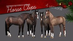 horse clips (4 versions) - by Carmen Raymond on Equus-Sims (part of ES 2015 Advent Calendar)