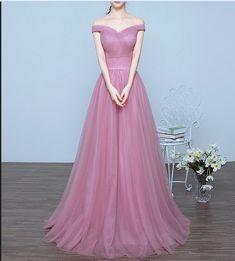 Pink Prom Dresses,Long Prom Dresses,Off Shoulder Prom Dresses,A-line