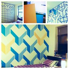Paint a geometric pattern wall. | 11 Nonpermanent Design Inspirations For Personalizing Your Apartment