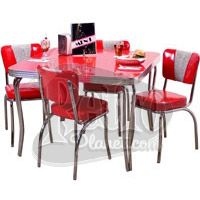 Attractive Retro Dinette Set With Square Table