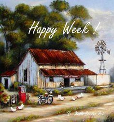 Farm Paintings, Nature Paintings, Landscape Art, Landscape Paintings, Landscapes, Stella Art, Farm Windmill, Barn Pictures, Farms Living