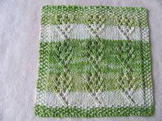 Ravelry Free Knit Pattern - Flower and stem dishcloth