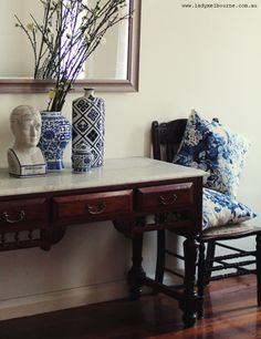 Lady Melbourne's blue and white interior