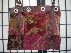 VINTAGE BUCKET BAG - Carpetbag - reversible with leather straps by blingblingfling on Etsy