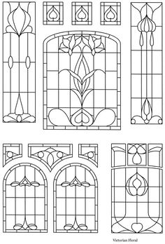 #stain glass window #pattern #printable - these would be really neat printed out on transparencies then placed in a dollhouse.