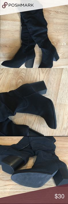 Black over the knee boots! Tall over the knee black boots! Size 9. Only worn once! Great shape!! Shoes Over the Knee Boots