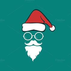 Santa hats and beards and eyeglasses Christmas Icons, Christmas Art, Christmas Holidays, Web Design Icon, Cricut, Santa Face, Blue Backgrounds, Beards, Photo Booth