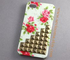 iPhone 4 Case iPhone 4s Case antique brass Studded by Sevinoma, $12.99