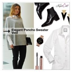 """9. Elegant Poncho Sweater Vest (KnitCat Boutique)"" by shambala-379 ❤ liked on Polyvore featuring Yves Saint Laurent and FOSSIL"