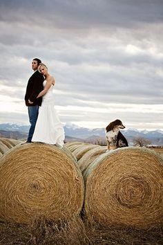 rustic country barn hay bale wedding photo idea   Deer Pearl Flowers