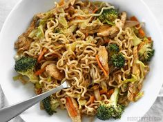 This simple yet addicting Chicken Yakisoba is full of noodles, chicken, and vegetables, and drenched in a sweet and tangy sauce. BudgetBytes.com