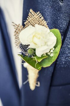 Navy tux and rustic boutonniere: http://www.stylemepretty.com/australia-weddings/2014/09/24/diy-wedding-at-coriole-vineyard/   Photography: Lux Photography - https://www.facebook.com/lux.weddings?fref=ts
