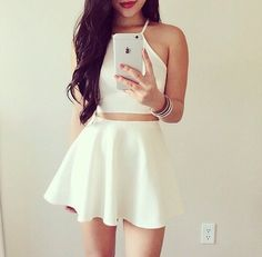 Matching White Skater Skirt & Crop Top