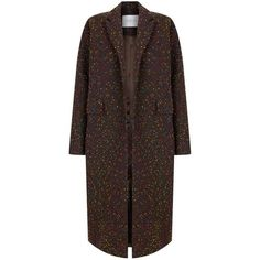 The 2nd Skin Co Tweed Maxi Coat (5,395 HKD) ❤ liked on Polyvore featuring outerwear, coats and chocolat