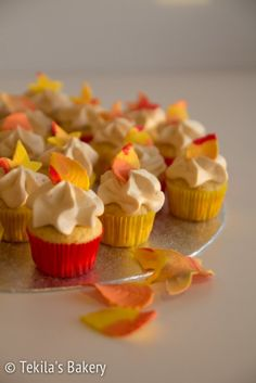 Apple mini muffins with condensed milk and cream frosting