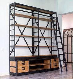 steel and wood furniture Loft Furniture, Shelf Furniture, Iron Furniture, How To Clean Furniture, Industrial Furniture, Pallet Furniture, Modern Furniture, Furniture Design, Furniture Cleaning