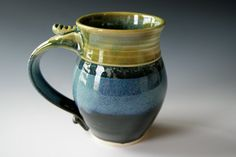 Pottery Coffee Mug Handmade Wheel Thrown by riverstonepottery, $22.00