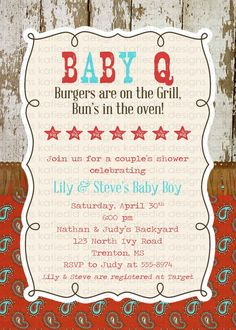 BABY Q baby boy shower invitation western style by katiedidesigns
