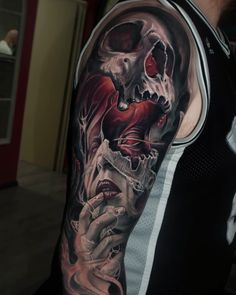 Tattoo artist Jayden Pengilly - Tattoo artist Jayden Pengilly, color and black&grey authors portrait realism tattoo, surrealism Skull Tattoo Design, Skull Tattoos, New Tattoos, Body Art Tattoos, Tattoos For Guys, Sleeve Tattoos, Cool Tattoos, Tattoo Designs, Evil Skull Tattoo