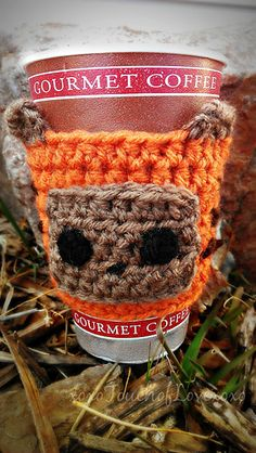 Ewok cup cozy crochet pattern for sale on Etsy & Ravelry by Sheila Hunt