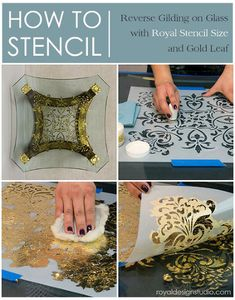 How to Stencil Tutorial: Reverse Stenciling and Gilding on Glass Table – Royal Design Studio Stencils Stencil Diy, Stencil Painting, Stencil Designs, Painting Tips, Tile Stencils, Stencil Table, Leaf Stencil, Damask Stencil, Wall Stenciling