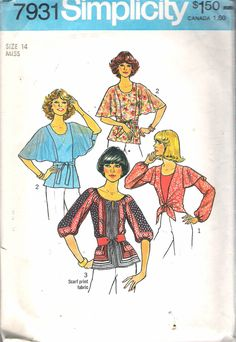 """Vintage 1977 Simplicity 7931 Set of Blouses Sewing Pattern Size 14 Bust 36"""" by Recycledelic1 on Etsy"""