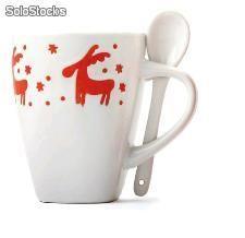 Taza navidad cuchara Mugs, Tableware, Christmas, Wedding, Ideas, Calla Lilies, Home, Christmas Mugs, Personalized Pillows