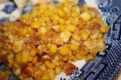 Deep South Dish: Southern Fried Corn--Occasionally I substitute cubed proscuitto for the bacon, either way, my family gobbles it up.  I've used fresh corn and frozen shoepeg corn and it is great with either.
