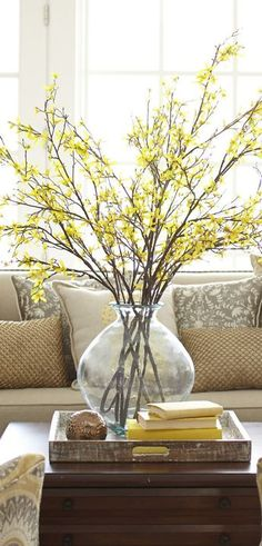 Faux Forsythia Branch | Spring Home Decor |