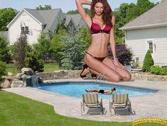 Giantess Karlie Kloss backyard pool by lowerrider.deviantart.com on @deviantART